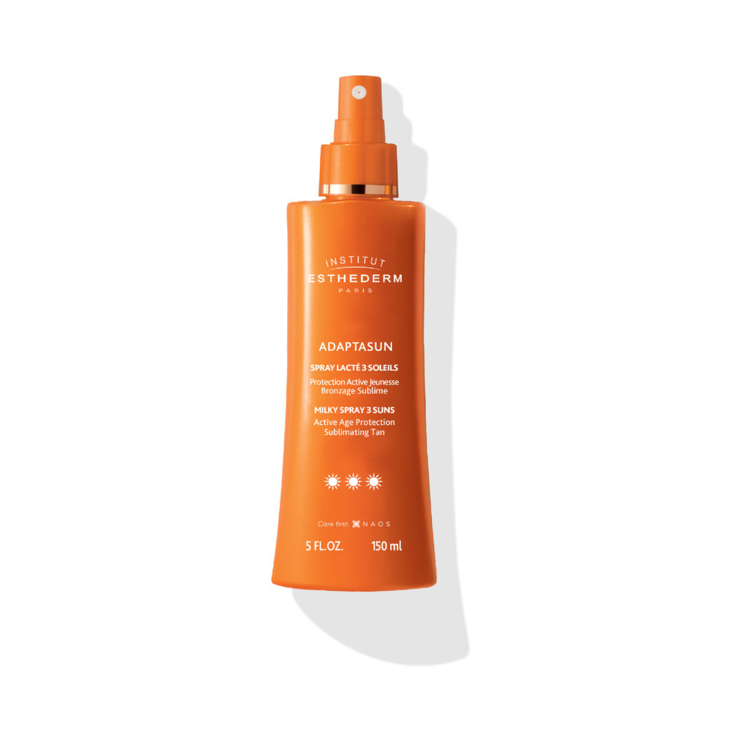 ESTHEDERM product photo, Milky Spray 3 Suns 150ml, milk sun care spray, UVA UVB protection, hydrating care